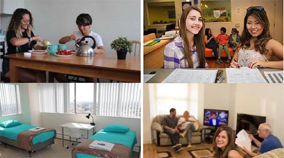 Jóvenes en sus alojamientos en USA
